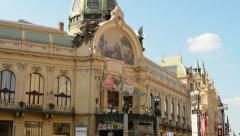 PRAGUE, CZECH REPUBLIC - SEPTEMBER: Prague's Municipal House: from the outside Stock Footage