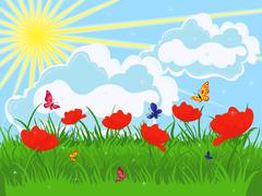 Meadow in early summer Stock Illustration