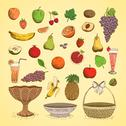 Stock Illustration of set of juicy fresh fruits