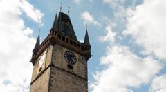 PRAGUE, CZECH REPUBLIC - SEPTEMBER 2013: Astronomical Clock: Tower with blue sky Stock Footage