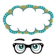 Glasses with eyes dreaming concept Stock Illustration