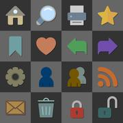 Collection of internet icons, color flat design Stock Illustration