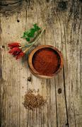 Cumin and hot pepper Stock Photos