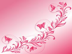 butterflies flying over a beautiful twig - stock illustration