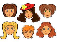 Sarja kuuden sarjakuva naisten kasvot Piirros