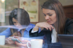 Businesswomen using cellphone and talking in cafe, steadycam shot. Stock Footage