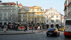 PRAGUE, CZECH REPUBLIC - MARCH 2014: Timelapse of Prague street with trams Stock Footage