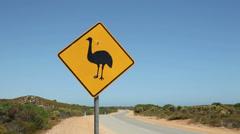 Wildlife traffic road sign crossing, emu, wa, australia Stock Footage
