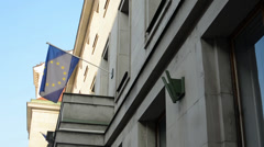 PRAGUE, CZECH REPUBLIC - European Union Flag hanging on the state building Stock Footage