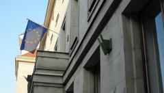 PRAGUE: Street with European Union Flag hanging on the state building Stock Footage