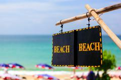 """beach"" sign - access to summer beach Stock Photos"