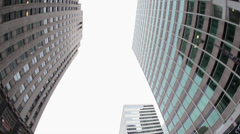 Fisheye shot of buildings and offices in downtown Philadelphia Stock Footage