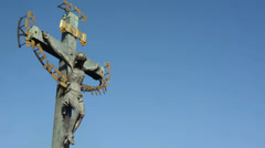 PRAGUE, CZECH REPUBLIC - MARCH 2014: Religious statues on the Charles Bridge Stock Footage