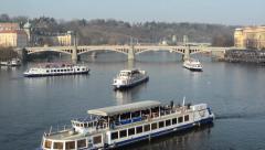 PRAGUE, CZECH REPUBLIC - MARCH 2014: Timelapse of ships sail on the Vltava Stock Footage