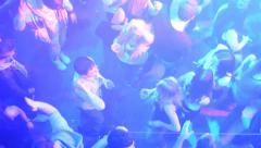 People dancing at a party (disco) - view from above - stock footage