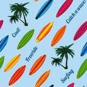 Stock Illustration of seamless vacation pattern with surfboards