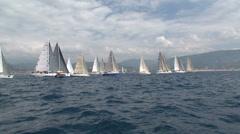 Sailing boats navigating during race Stock Footage