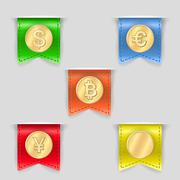 cash icons set - stock illustration
