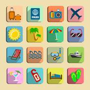 Global tourism icons set Stock Illustration
