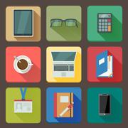 business set of workplace icons - stock illustration