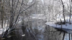 River flowing through a winter scene Stock Footage