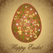 Stock Illustration of easter egg  with gooseberry, gold brown greeting card