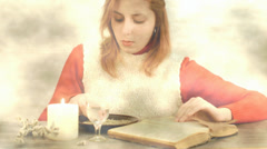 Girl holds a magic ritual Stock Footage