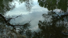 The sky is mirrored,reflected by the surface of a river. Stock Footage