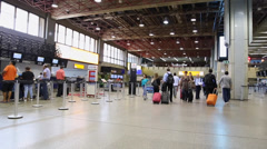 Passengers at Guarulhos Airport on in Sao Paulo, Brazil. Stock Footage
