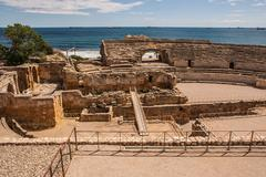 A view of the roman amphitheater in tarragona, spain Stock Photos