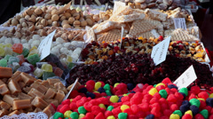 Sweets market, local food, candies, sweetmeats, cookies, candy gum Stock Footage