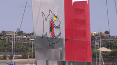 Detail of the sail of Luna Rossa catamaran Stock Footage