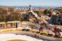 Barcelona park guell of gaudi tiles mosaic serpentine bench modernism Stock Photos