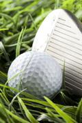 pure white golfball on green grass - stock photo