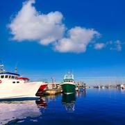 denia port fisherboats and marina in alicante spain - stock photo