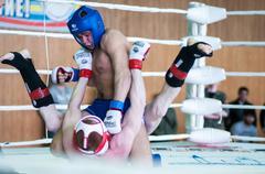 volga federal district championship in mixed martial arts. - stock photo