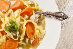Homemade organic chicken noodle soup Stock Photos