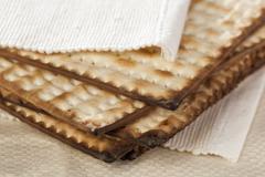 homemade kosher matzo crackers - stock photo