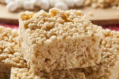 marshmallow crispy rice treat - stock photo