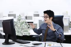 expression of businessman surprised - stock illustration