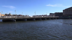 Bridge over water in swedens capital city Stockholm Stock Footage
