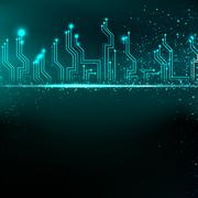 Circuit board background with blue electronics. Stock Illustration