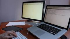 Web designer building web page Stock Footage