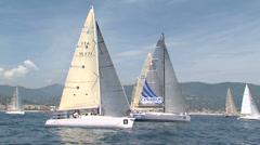 Sailing boats navigating slowly Stock Footage