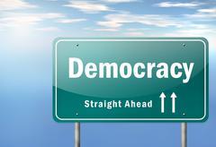 "highway signpost ""democracy"" - stock illustration"