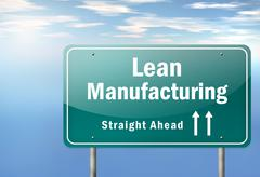 """Highway signpost """"lean manufacturing"""" Stock Illustration"""