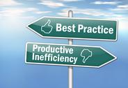 "Stock Illustration of signpost ""best practice vs. productive inefficiency"""