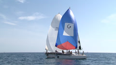 Sailing boats navigating slowly Stock Footage