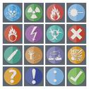 Stock Illustration of danger sticker icons, symbols