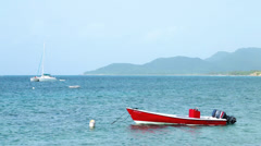 Red Fishing Boat in the Caribbean - stock footage